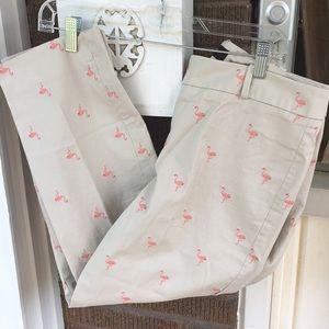Talbots Tan & Pink Flamingo Cropped Pants